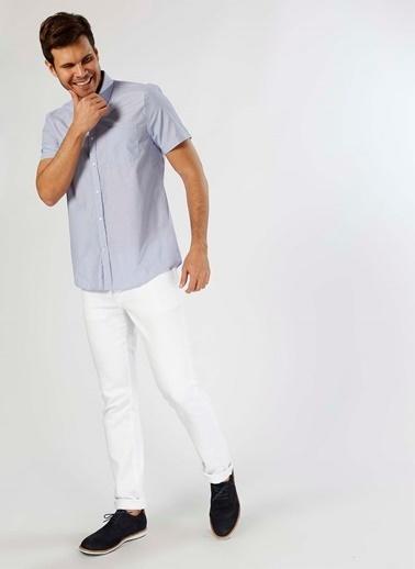 Cotton Bar Kareli Kısa Kollu Gömlek Mavi